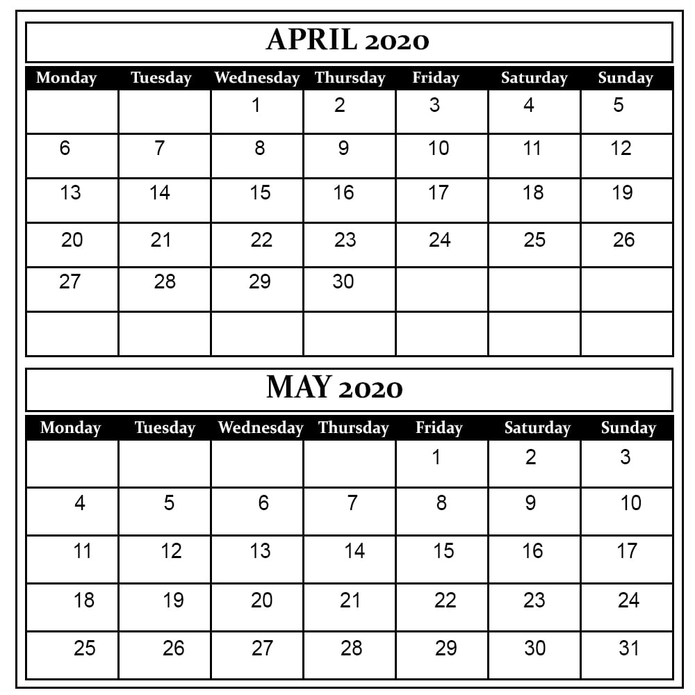 April May 2020 Calendar Printable
