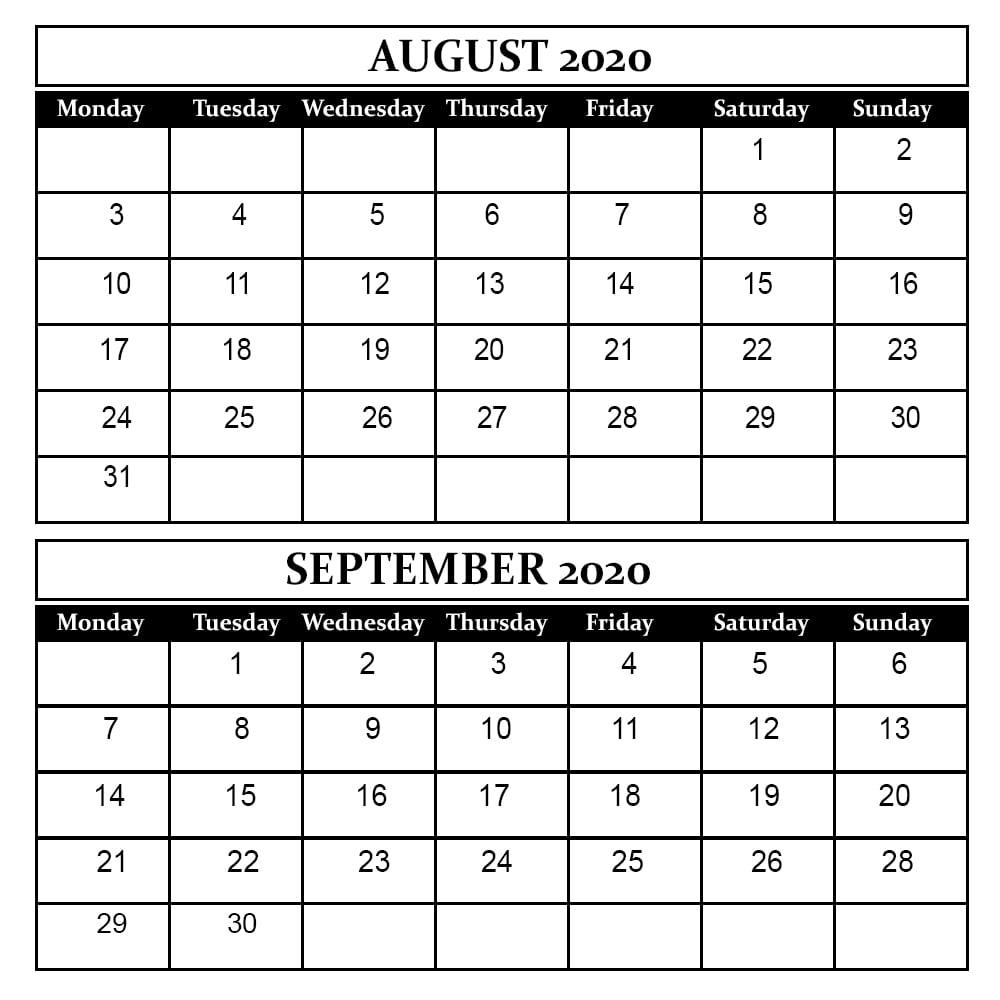 August September 2020 Calendar Printable