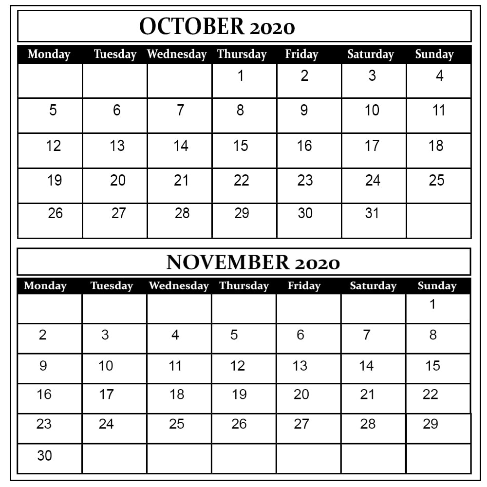 October and November 2020 Free Printable Calendar