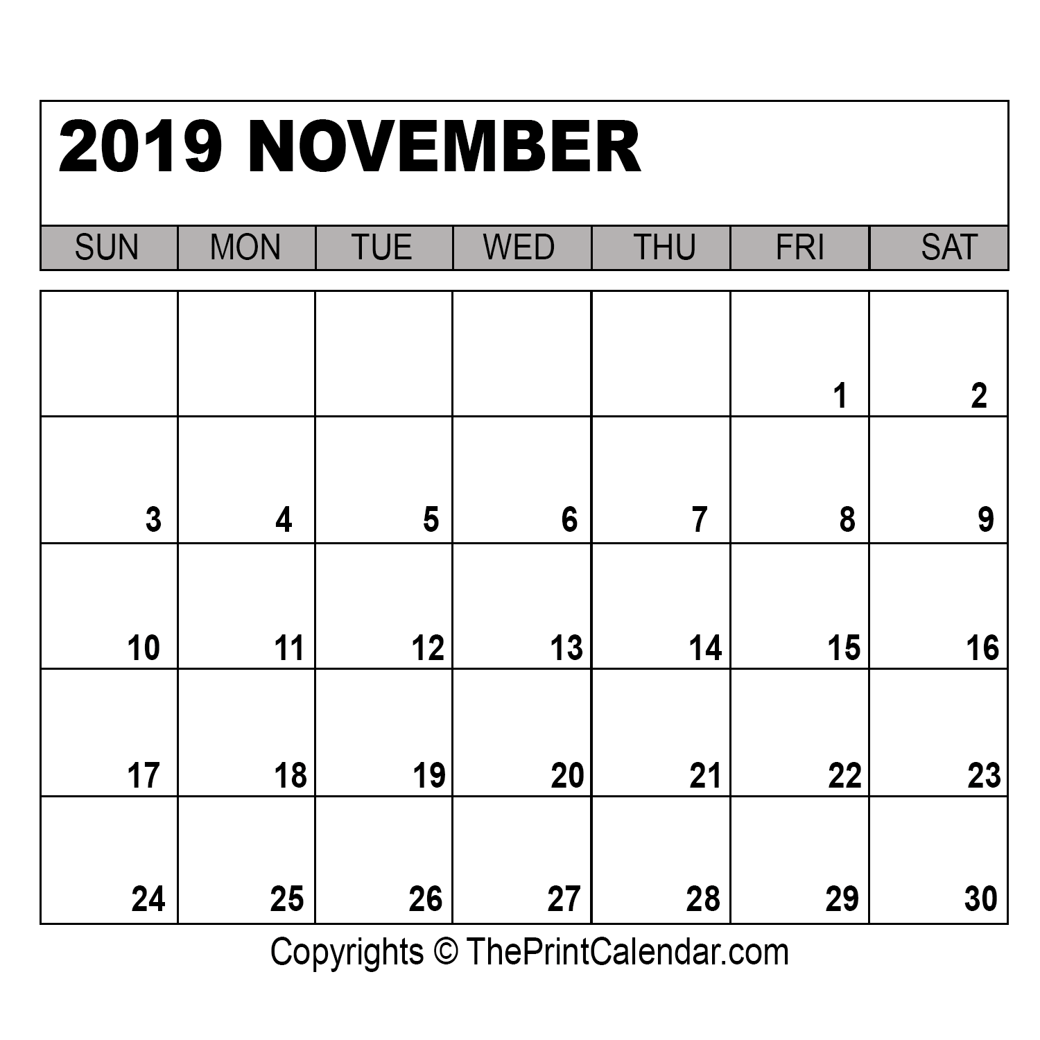 November 2019 Printable Calendar Template [PDF, Word & Excel]