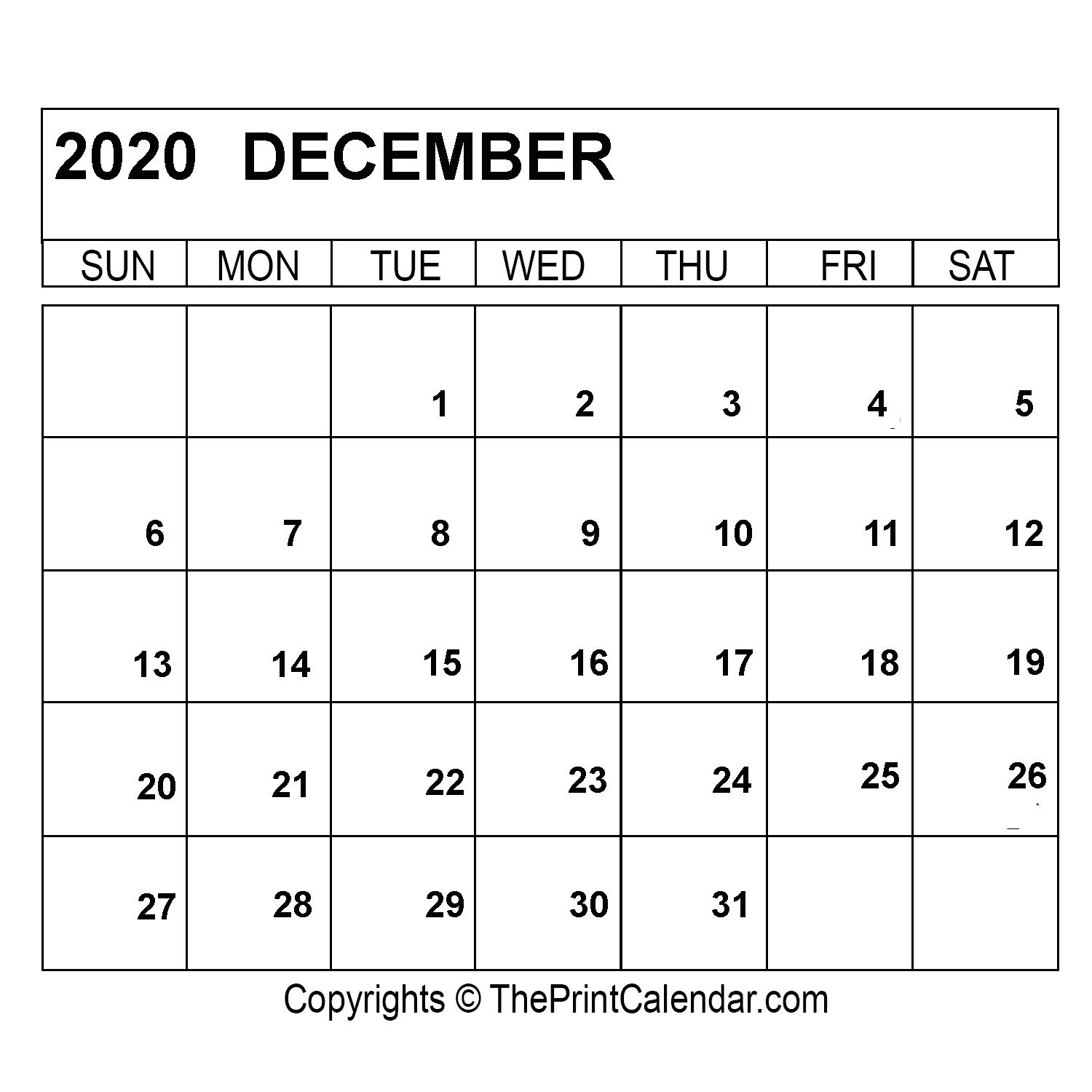December 2020 Printable Calendar Template [PDF, Word & Excel]