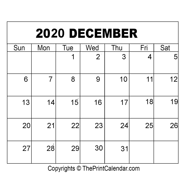 Month December Calendar in Year 2020