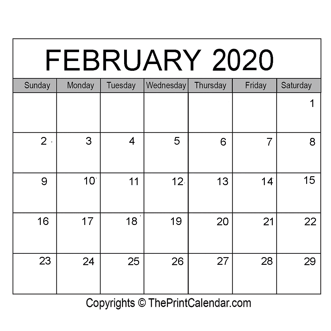 Month February Calendar in Year 2020