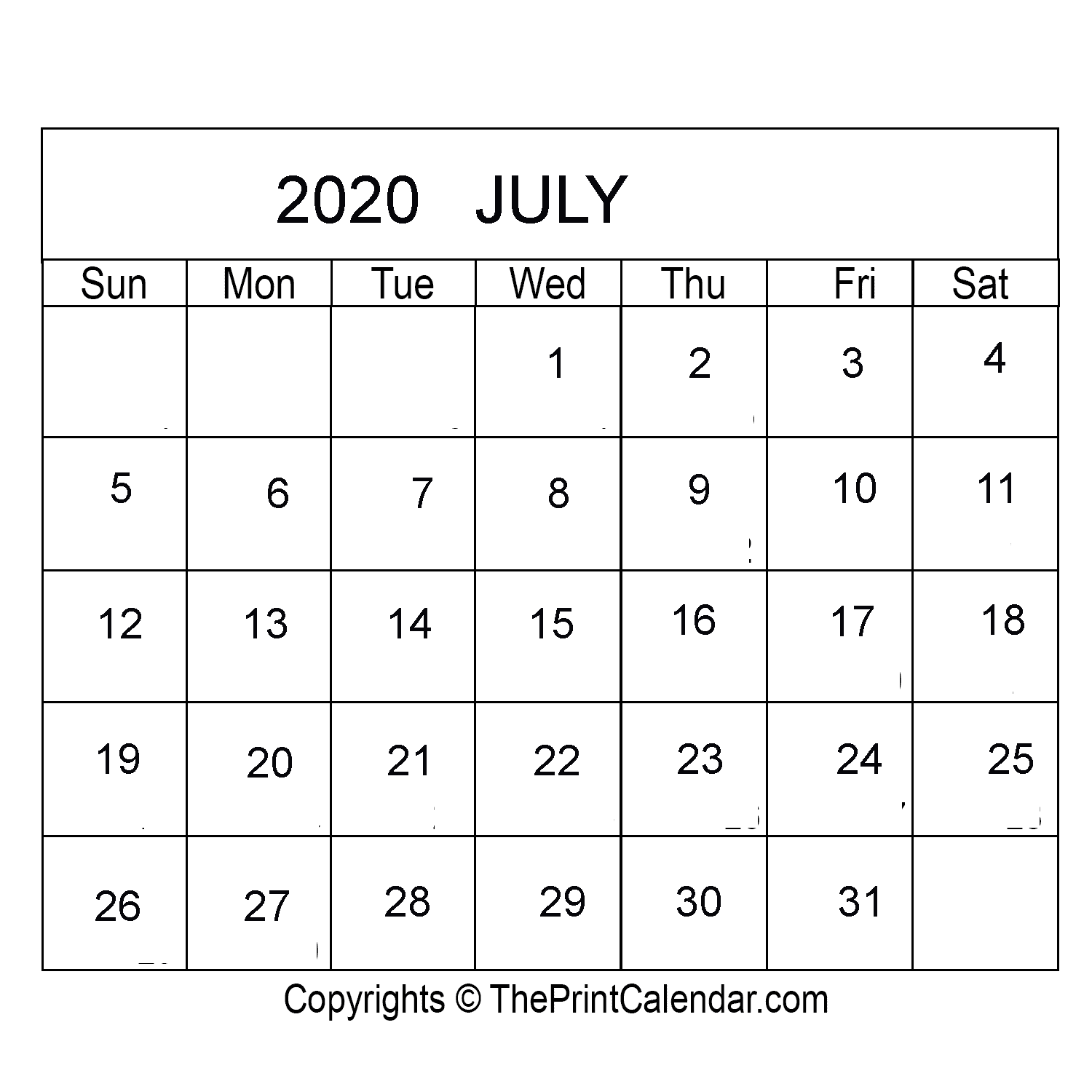 Print Friendly April 2020 Canada Calendar For Printing: July 2020 Printable Calendar Template [PDF, Word & Excel]