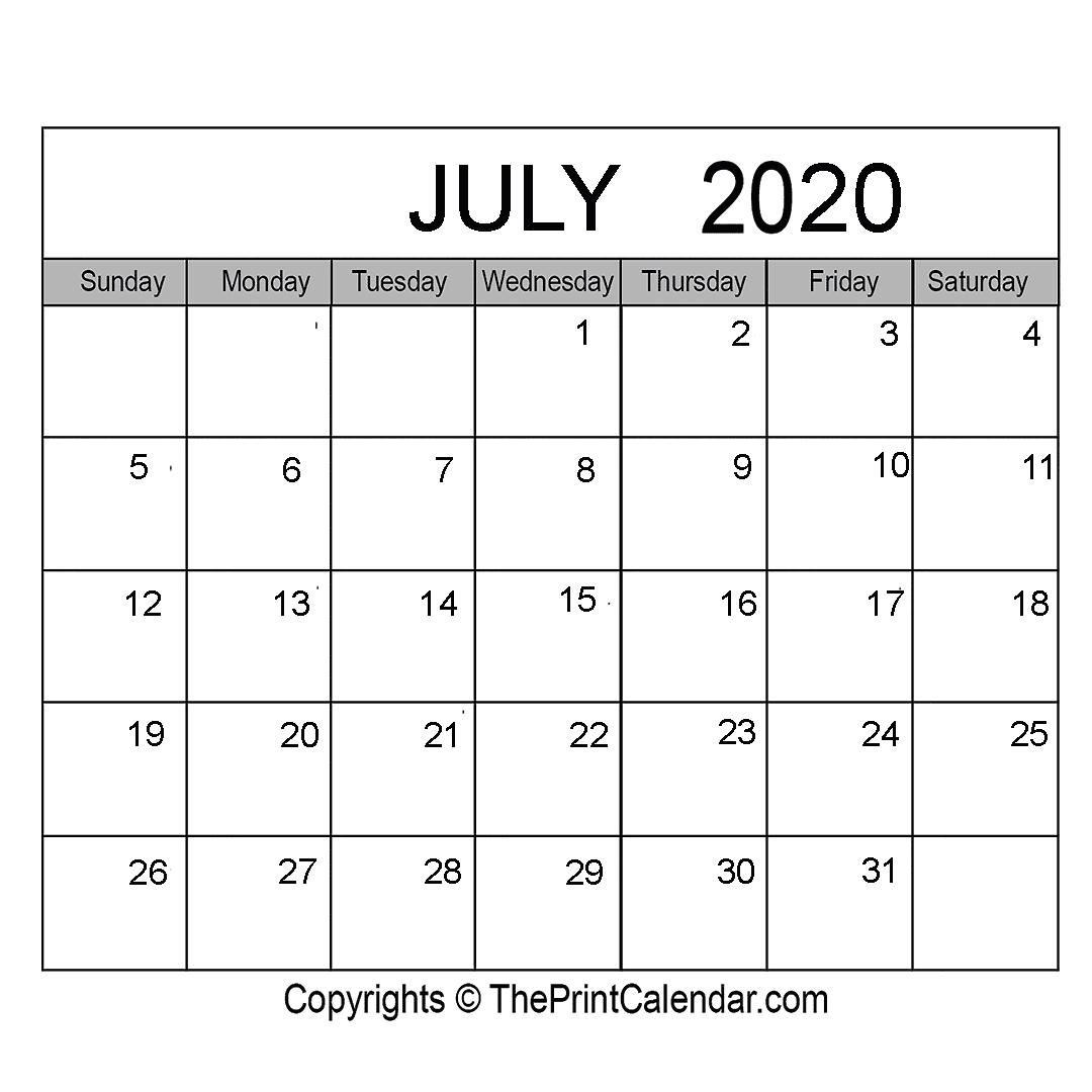 Month July Calendar in Year 2020