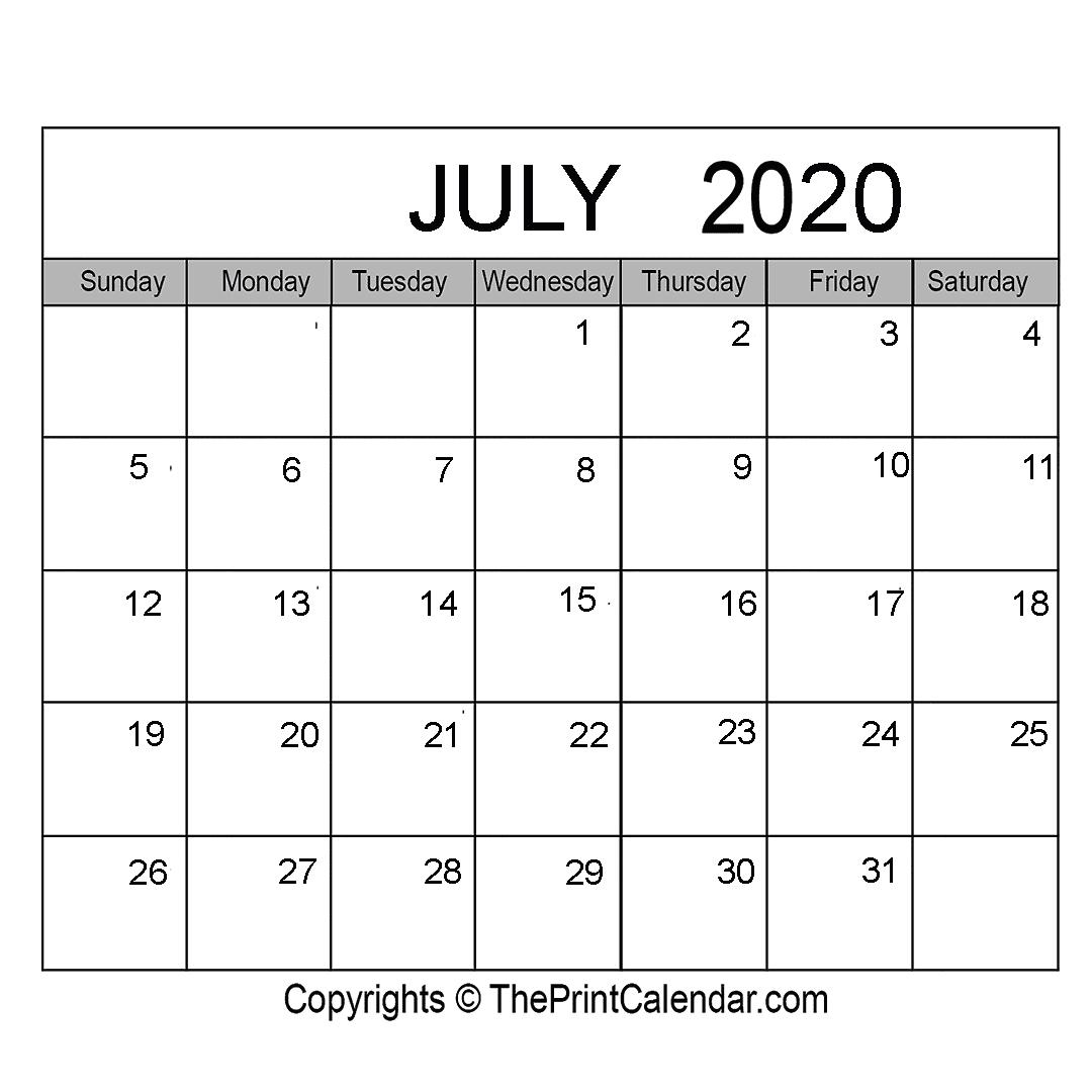 Month July Calendar in Year 2020