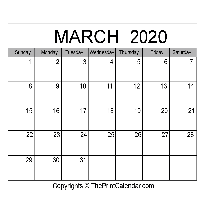 Month March Calendar in Year 2020