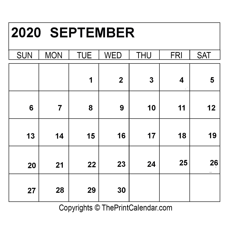 September 2020 Printable Calendar - Free-printable ...   Creative Calendar 2020 September
