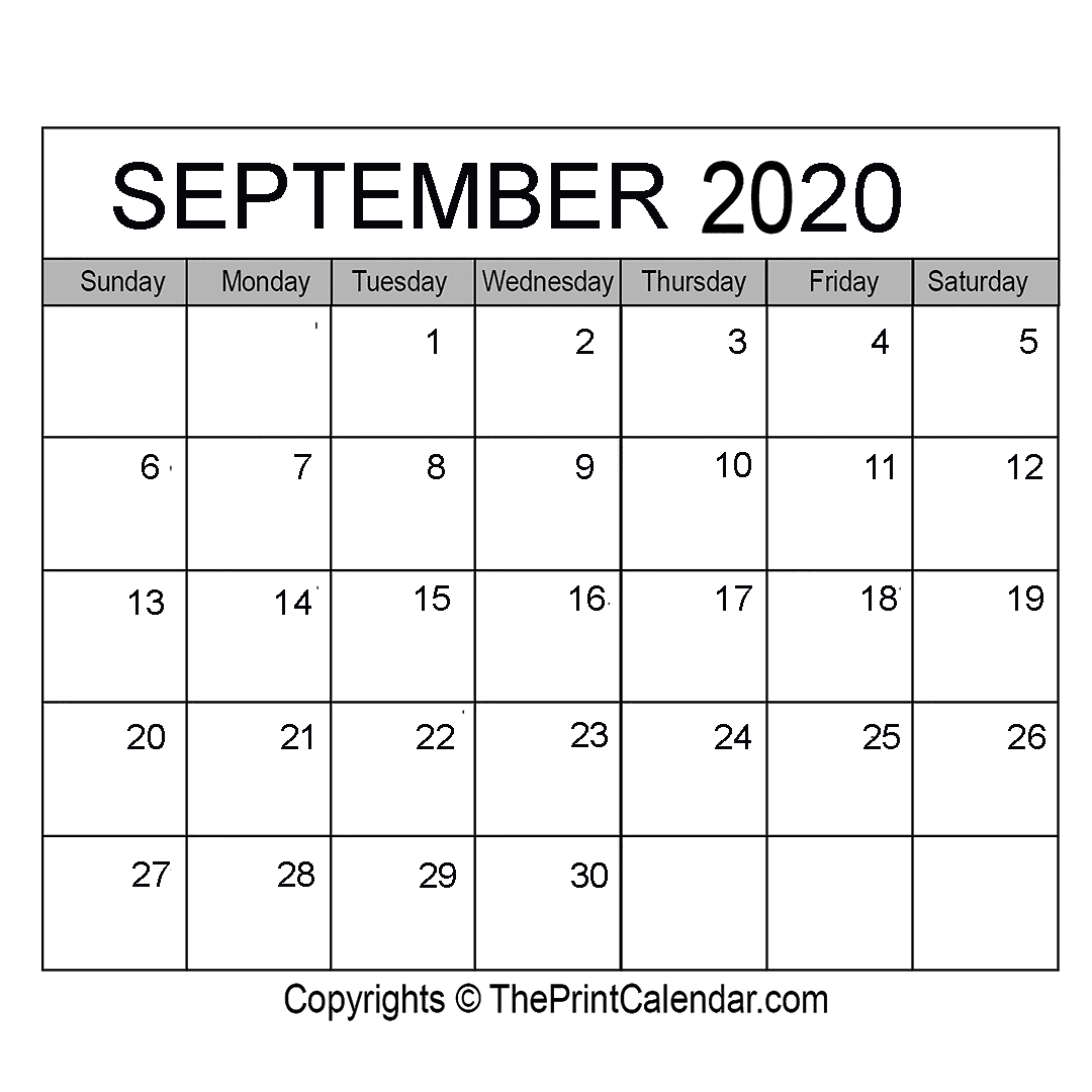 Month September Calendar in Year 2020