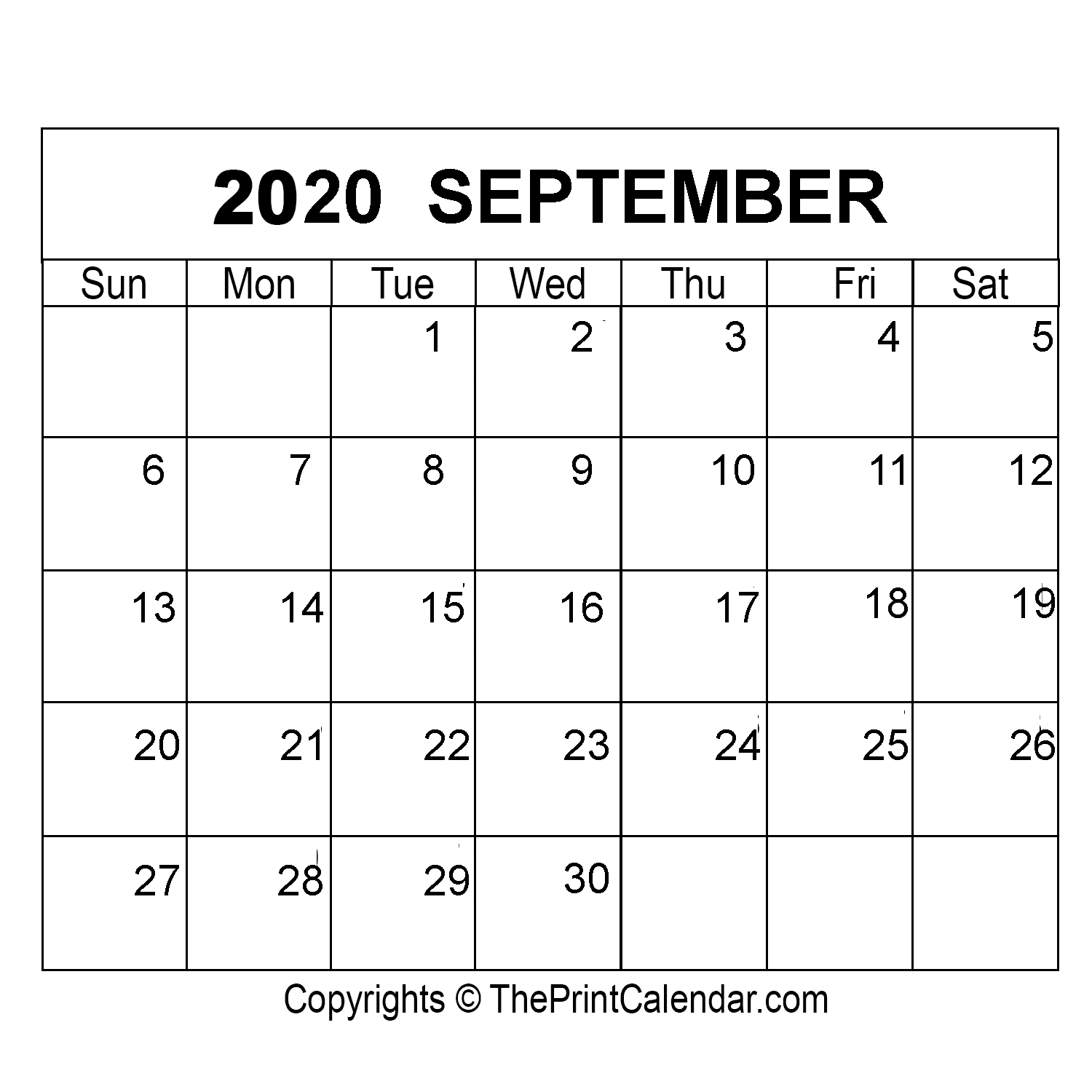 September 2020 Printable Calendar Template [PDF, Word & Excel]