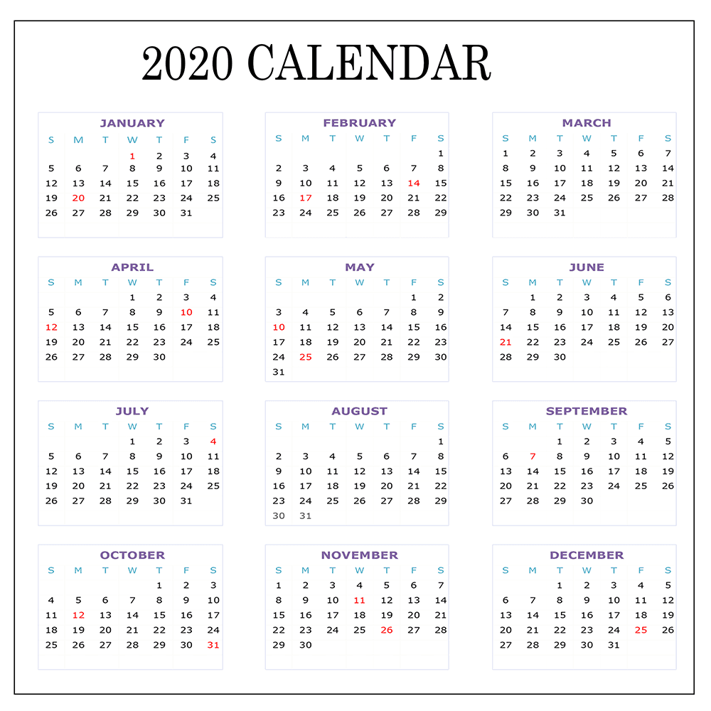 Canada 2020 Yearly Printable Calendar: Free 2020 Printable Calendar Templates