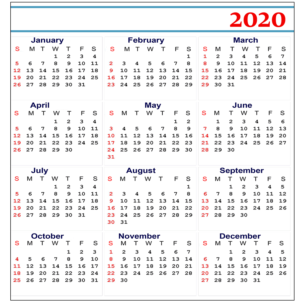 Free 2020 Yearly Printable Calendar