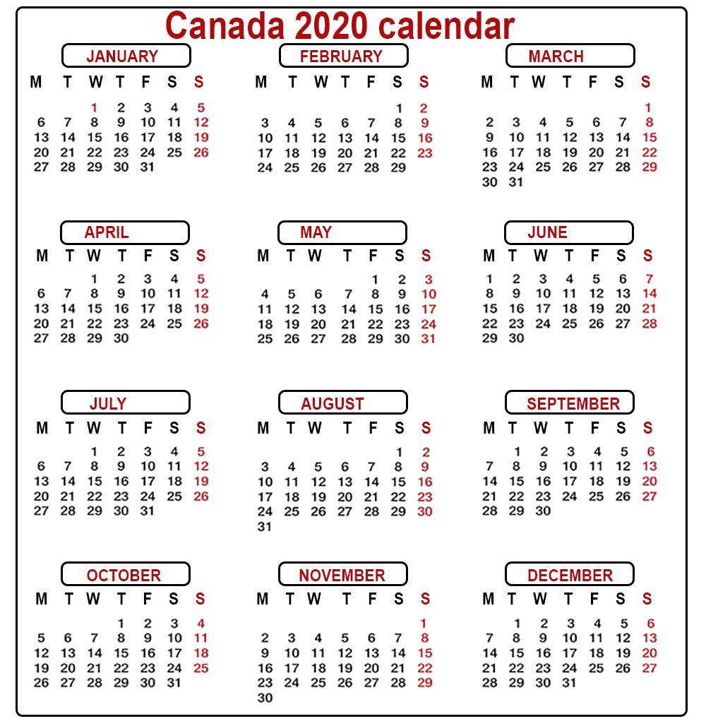 Canada Calendar 2020 Printable: Canada Calendar 2020 Printable