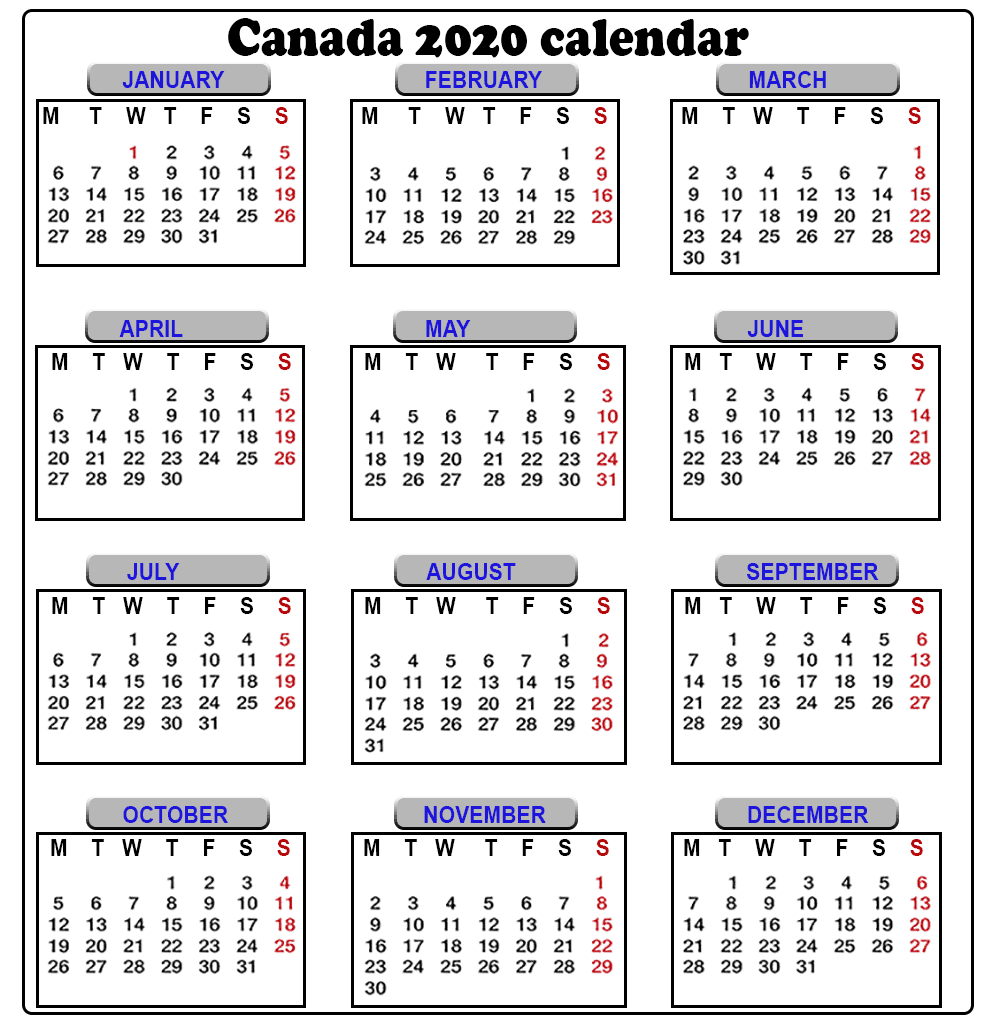 Canada 2020 Yearly Printable Calendar