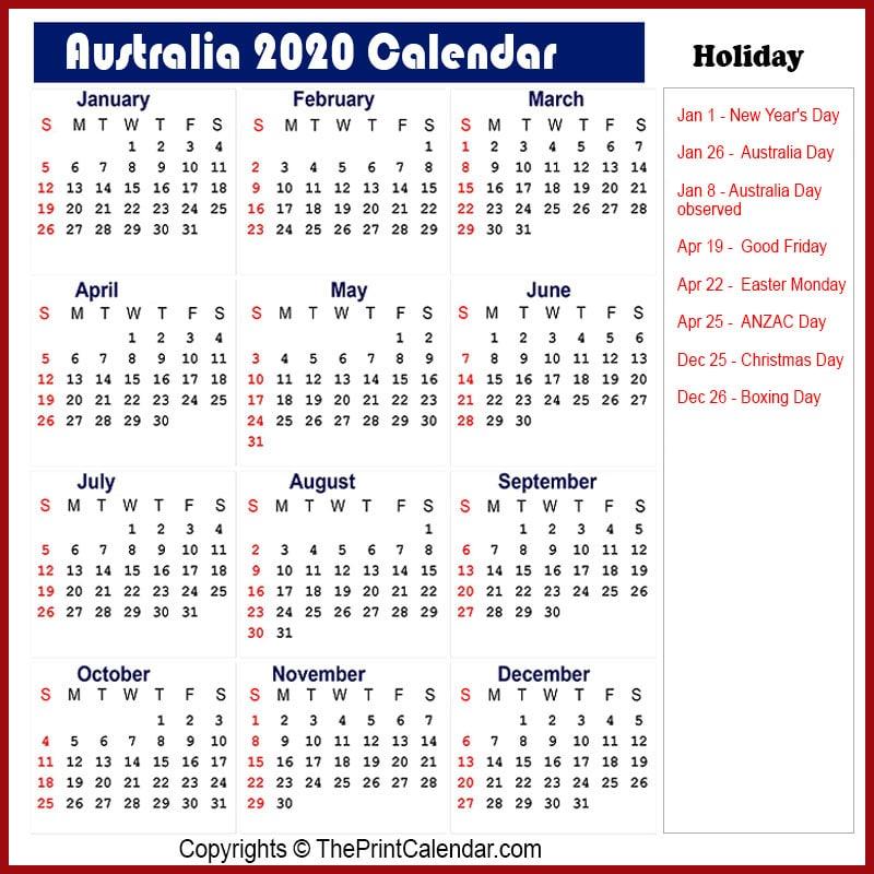 Calendar 2020 Australia | Australia 2020 Yearly Printable ...