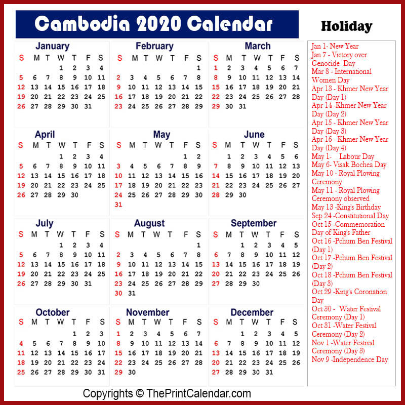 Cambodia 2020 Calendar