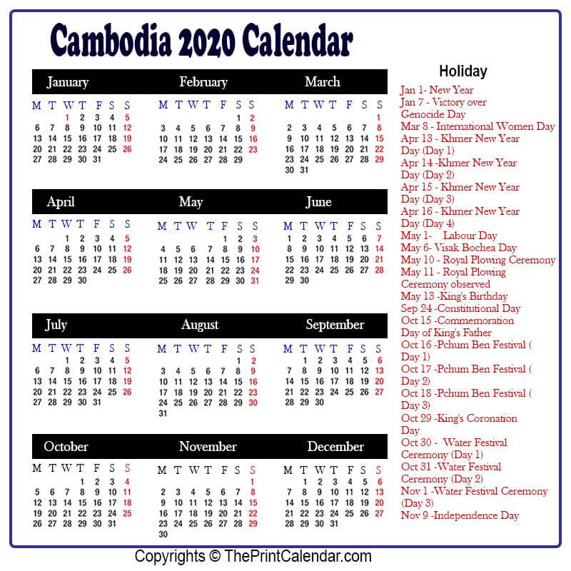 Cambodia Calendar 2020
