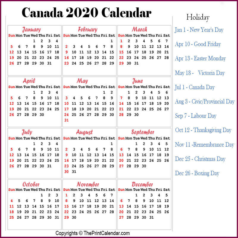 Canada 2020 Yearly Printable Calendar: Canada 2020 Yearly Printable Calendar