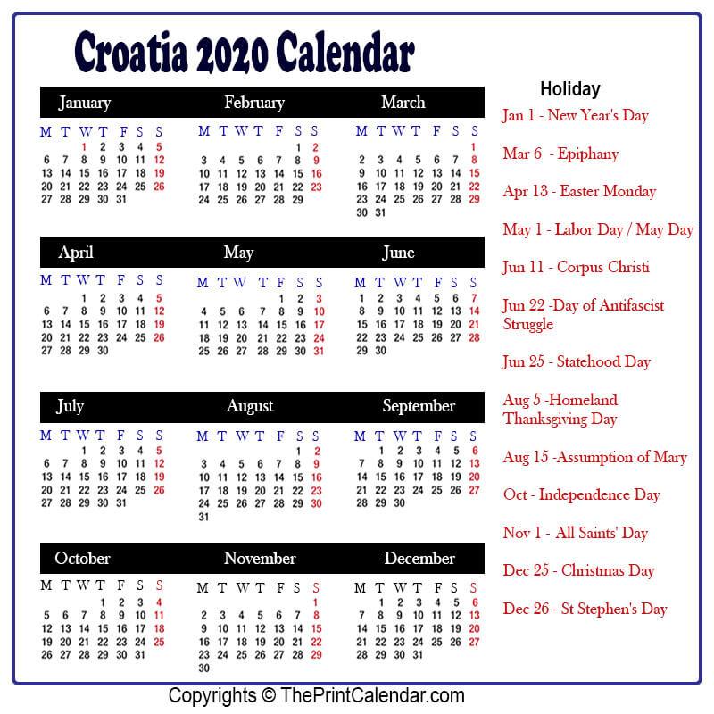 Croatia Calendar 2020