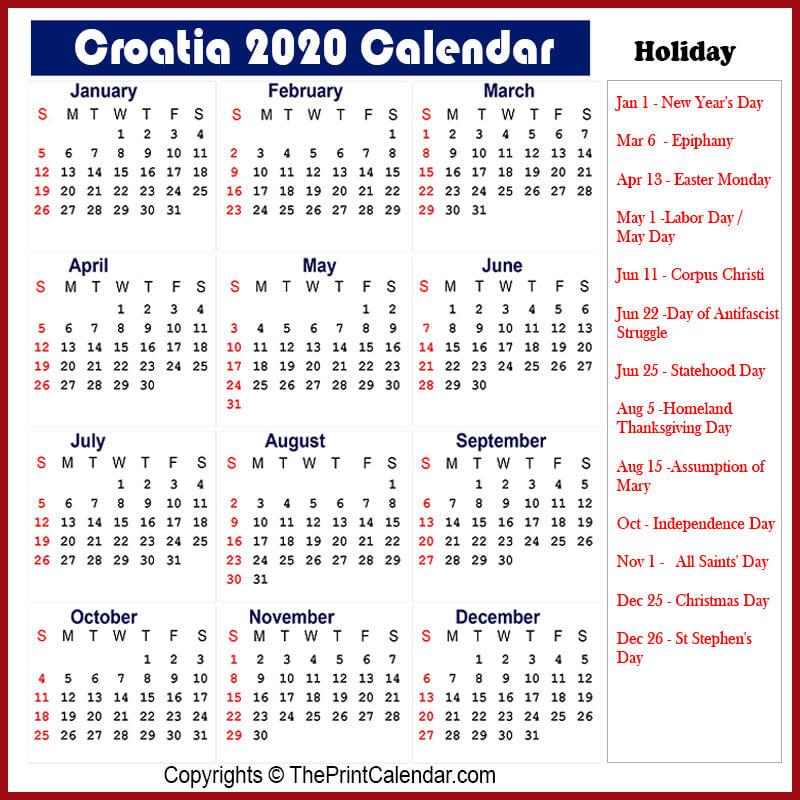 Croatia Printable Calendar 2020