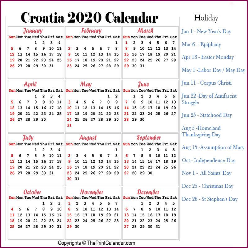 Croatia Yearly Calendar 2020