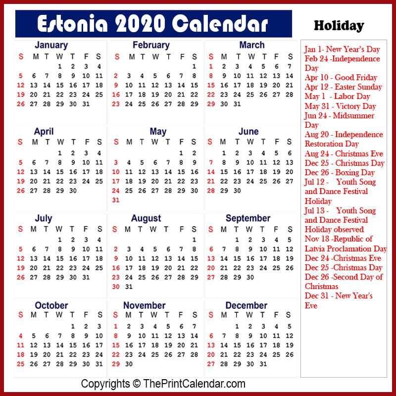 Estonia Printable Calendar 2020