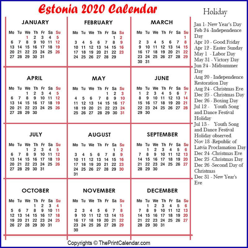 Estonia Yearly Calendar 2020