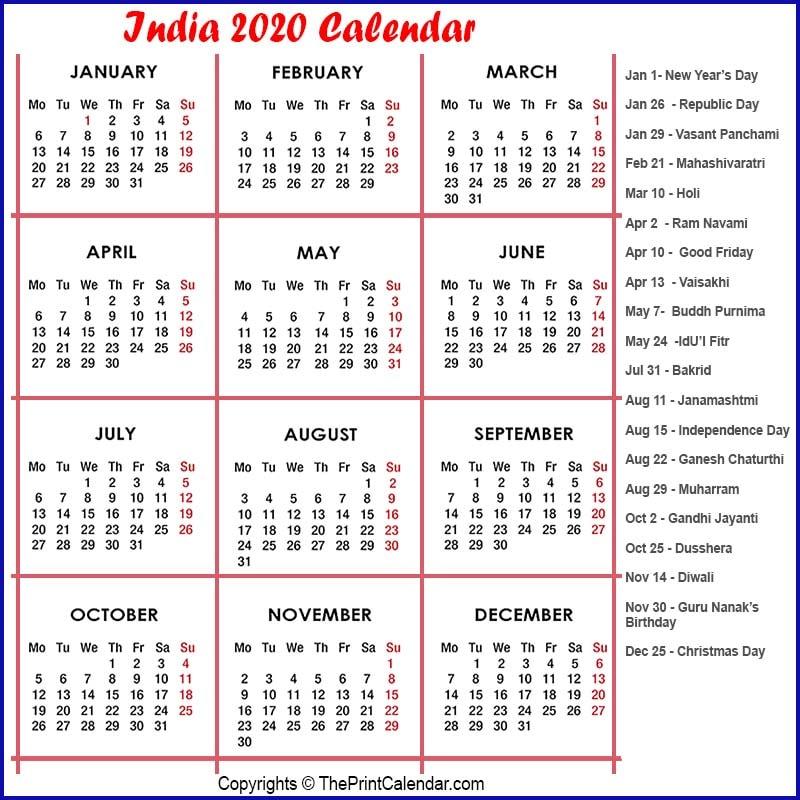 India Printable Calendar 2020
