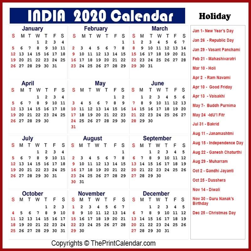 India Yearly Calendar 2020