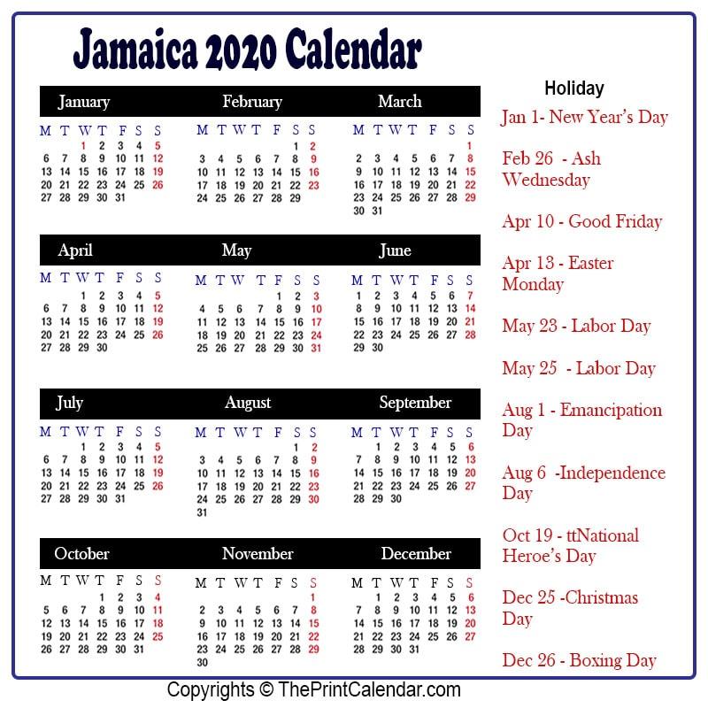 Jamaica 2020 Calendar