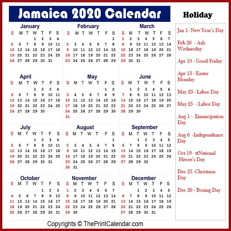 Jamaica Calendar 2020