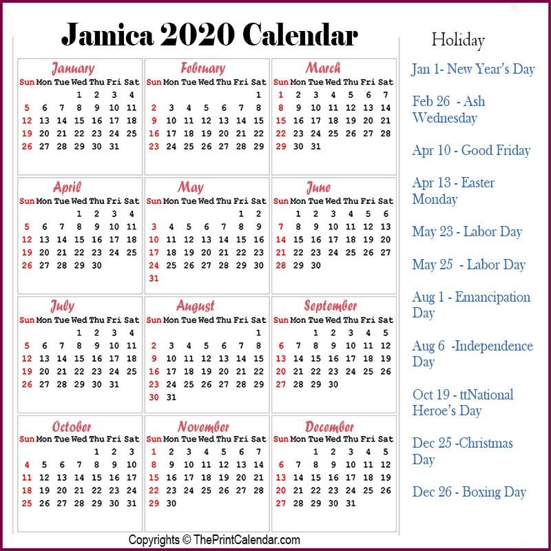Jamaica Printable Calendar 2020