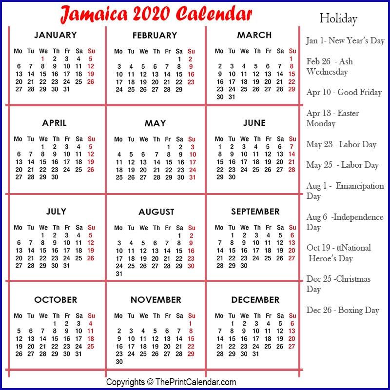 Jamaica Yearly Calendar 2020