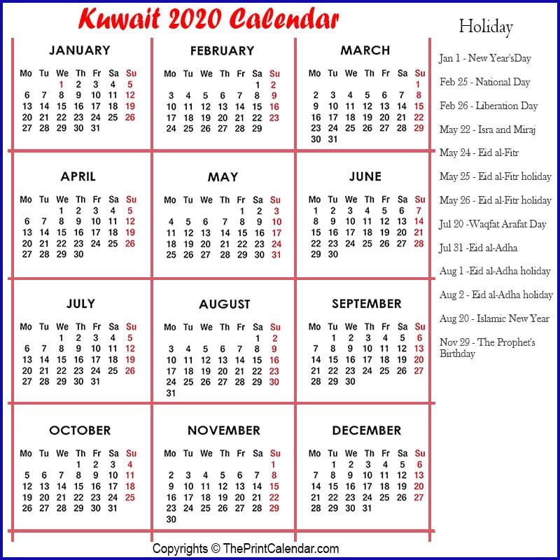 Kuwait Calendar 2020