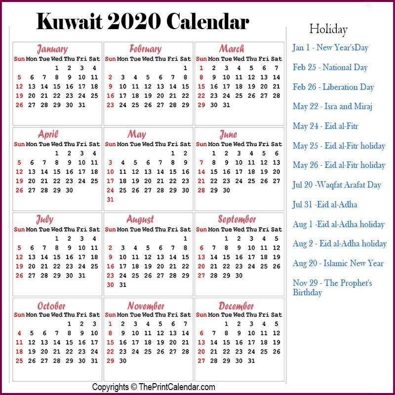 Kuwait Printable Calendar 2020