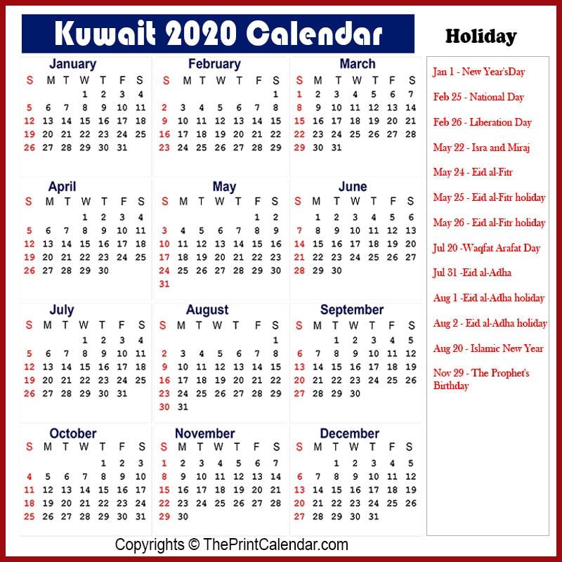 Kuwait Yearly Calendar 2020