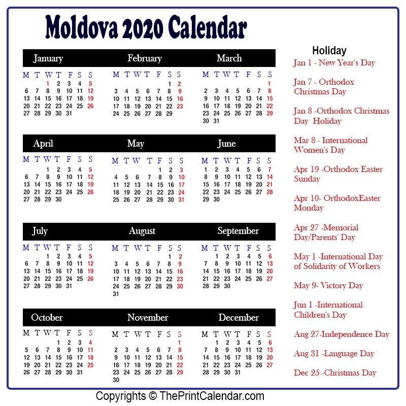Moldova 2020 Calendar