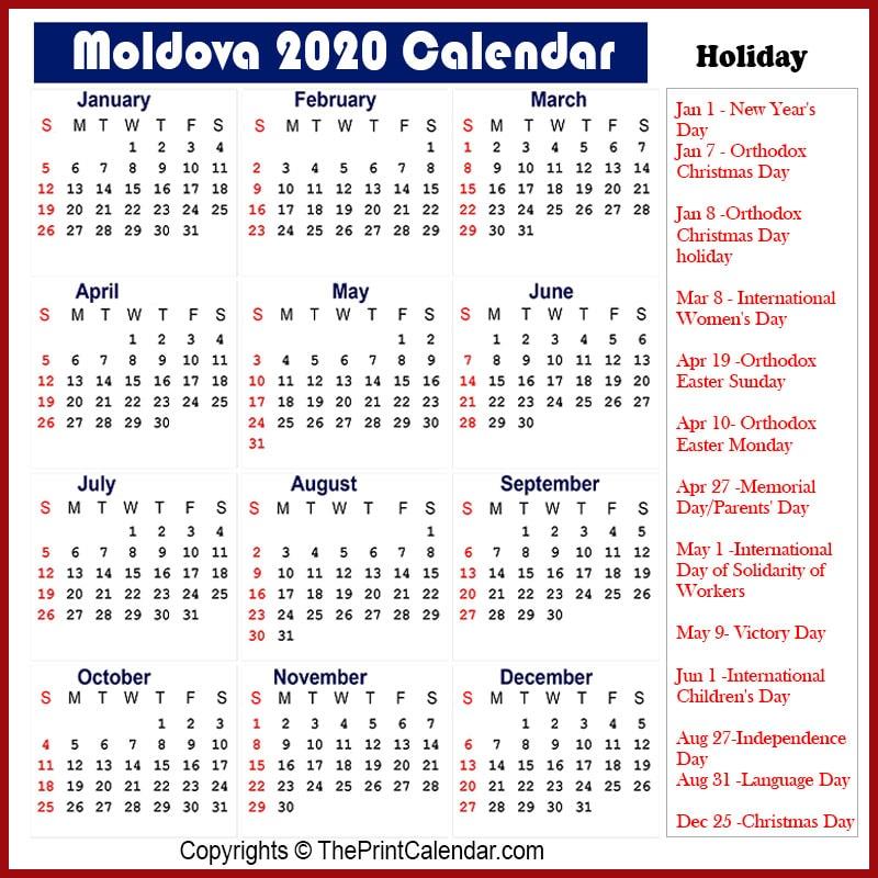 Moldova Yearly Calendar 2020