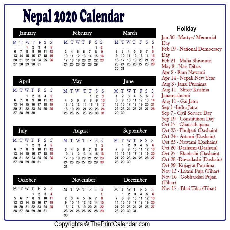 Nepali Calendar 2022.Calendar 2020 Nepal Nepal 2020 Yearly Printable Calendar