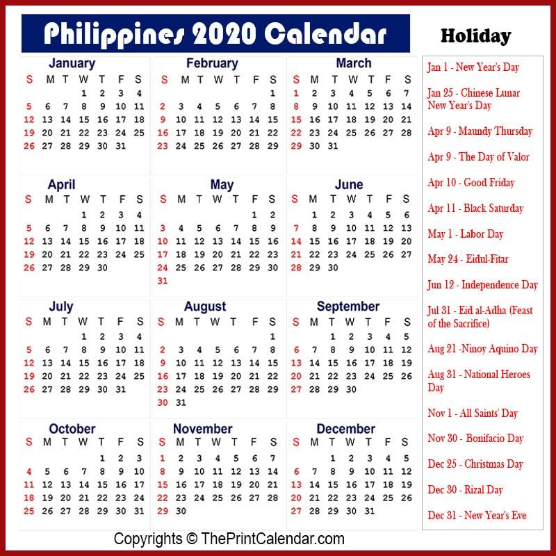 Calendar 2020 Philippines   Philippines 2020 Yearly ...