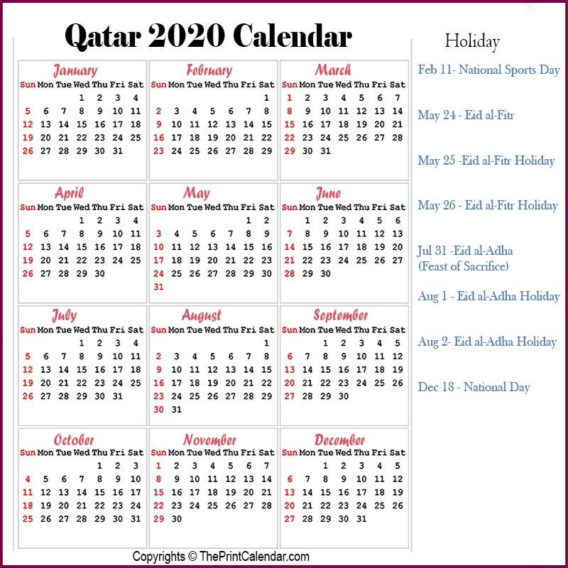 Qatar Yearly Calendar 2020