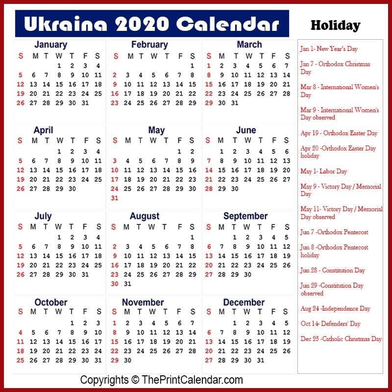 Ukraine 2020 Calendar