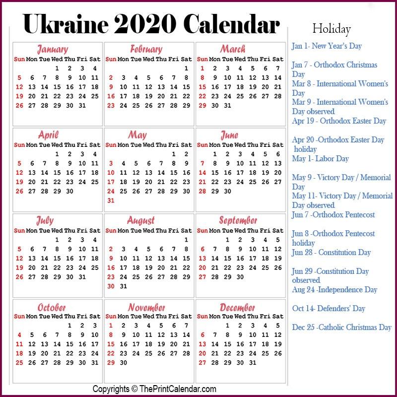 Ukraine Calendar 2020