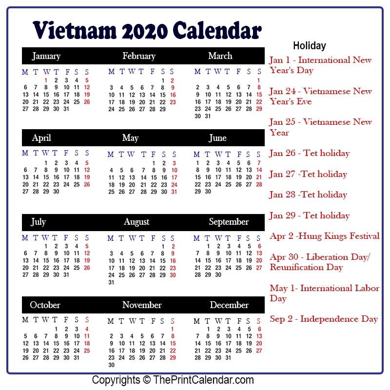 Vietnamese Calendar 2022.Calendar 2020 Vietnam Vietnam 2020 Yearly Printable Calendar